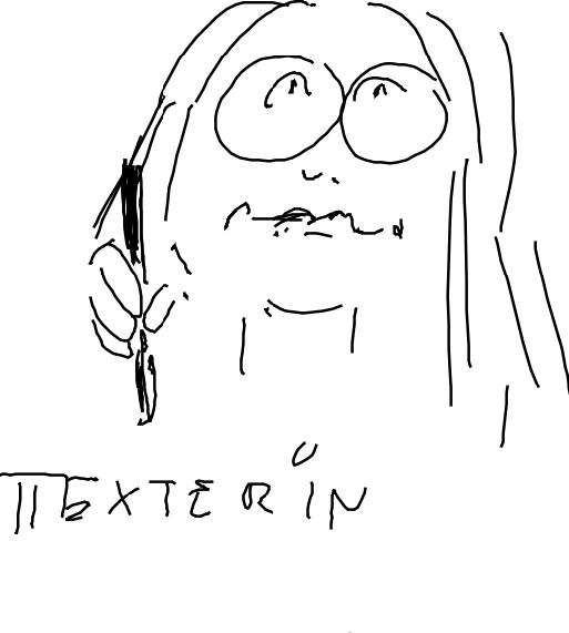 gezeichnete Frau mit Brille mit Schreibstift