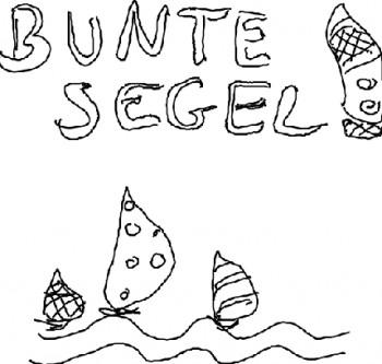 Bunte Segel auf Meereswellen Strichzeichnung - Logoentwurf