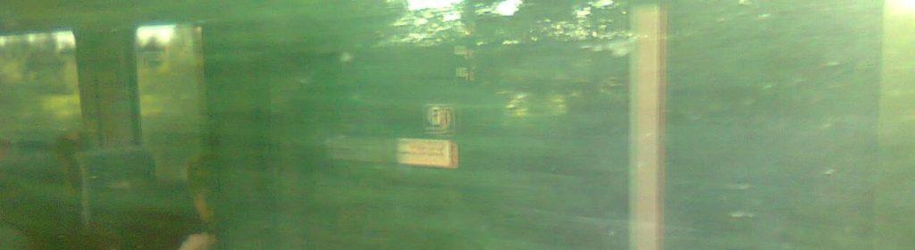 Spiegelungen im Zugabteil, vorbeiziehende Landschaft