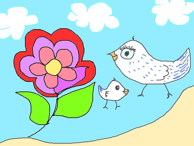 Digitalzeichnung, kindlich, rosarote Blume, zwei Vögelchen, blauer Himmel mit Schäfchenwolken
